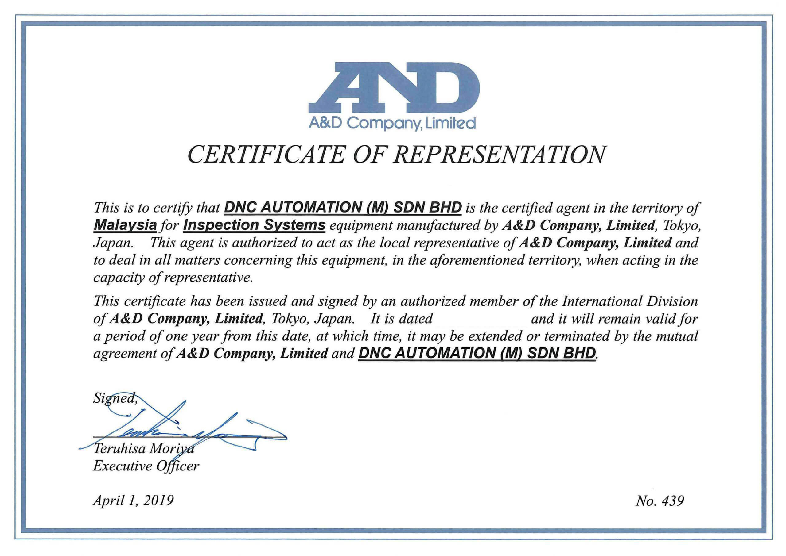 OFFICIAL CERTIFIED AGENT FOR A&D